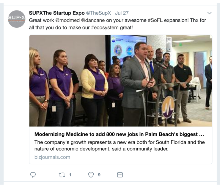Big modernizing medicine sup x florida tech twitter
