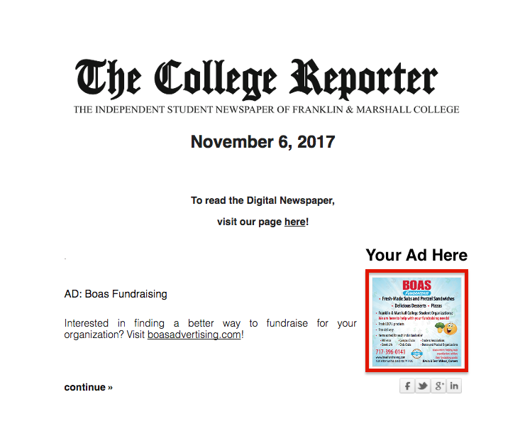 Big college reporter newsletter ad